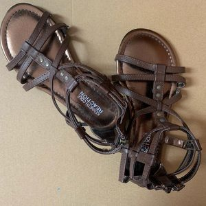 Little Girls Brown Leather Kenneth Cole Sandals